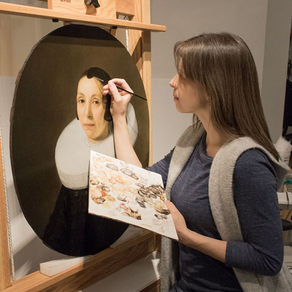 Ms. Berg joined MACC in 2016 after a Kress Fellowship at the Conservation Center of New York University's Institute of Fine Arts, where she treated Old Master paintings from the dispersed Samuel H. Kress Collection and assisted with teaching and supervision of graduate conservation students. Prior, she spent a year at the Brooklyn Museum of Art and held internships at the New York Historical Society, the Cranmer Art Group in New York, The Cloisters, the National Gallery of Art in Washington, D.C., and the Kunsthistorisches Museum in Vienna, Austria. While specializing in Old Masters and panel paintings in particular, Ms. Berg has extensive experience with modern and contemporary works. She holds a Masters of Arts in Art History with an Advanced Certificate in Conservation from the Conservation Center, New York University and a Bachelor of Fine Arts summa cum laude from the University of Minnesota. She is a Professional Associate of the American Institute for Conservation of Historic